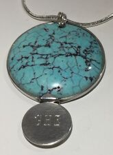 "LEONORE DOSKOW HandMade Turquoise 925SS Necklace 20"" 34.2g Vtg Am. Modernist"