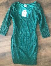 Asos Damas Encaje Vestido Verde Talla 12