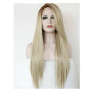 Women Long Charm Light Blonde Mix Lace Front Straight Hair Resistant Full Wigs