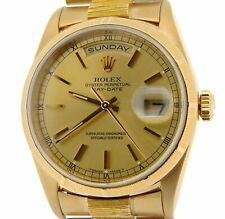 Mens Rolex Day-Date President Solid 18K Yellow Gold Watch Bark Champagne