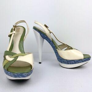 FENDI Blue Zucca Sandal Size 38 7.5 Patent Leather Strappy Platform Ivory Green