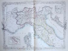 NORTHERN ITALY LOMBARDY PIEDMONT MILAN ~ 1851 COUNTRY MAP Art Print Engraving