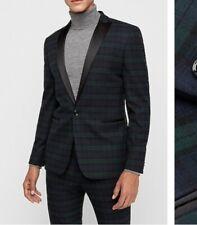 Green & Black Plaid Tuxedo Jacket