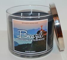 BATH & BODY WORKS BRAZIL RIO COCONUT TEAKWOOD SCENTED CANDLE 3 WICK 14.5OZ LARGE
