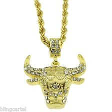 "Bull Head Longhorn Steer Ox Iced-Out Pendant Gold Finish 24"" Rope Chain Necklace"