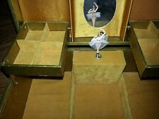 VINTAGE MUSIC JEWELRY BOX WITH BALLERINA, WIND UP BLUE DANUBE WALTZ JAPAN