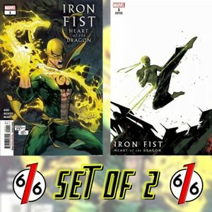 🚨🔥 IRON FIST HEART OF THE DRAGON #1 SET OF 2 Main Cover + Aja Variant NM