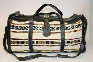 Handcrafted Extra Large Leather & Textile Crossbody Travel Duffle Bag