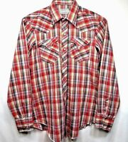 Vtg H Bar C Ca Ranchwear Mens Western Long Sleeve Pearl Snap Shirt sz 16-36 Red