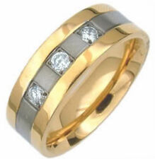 TITANIUM RING with Gold Plated Edges & Three-Stone CZ Accents, size 8