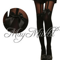 New Sheer Bowknot Mock Suspender Tattoo Pantyhose Stockings O