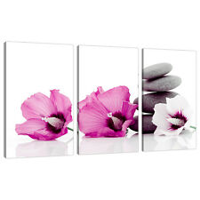 Set of Three Pink Floral Canvases Prints Wall Bedroom Pictures 3069