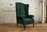 Handmade Dark Emerald Green Velvet Fabric Chesterfield Wing Chair, High Back