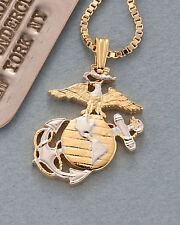 "Marine U.S. Military Pendant & Necklace Hand Cut Medal  3/4"" Diameter ( # 793 )"