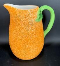 "New listing New Boston International 8"" Ceramic Orange Citrus Tall Handled Pitcher 7 Cups"