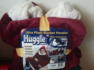Ontel Huggle Hoodie Ultra Plush Fleece Hooded Blanket Robe Chunky Maroon Red