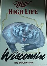 """Wisconsin """"The Badger State"""" Miller High Life Mirror Back Sign"""