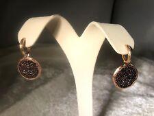 VERONESE 18K ROSE GOLD CLAD COGNAC CRYSTAL ROUND DROP EARRINGS (M959-38)