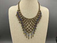 Vintage Cannetille Etruscan Revival Style Bib Necklace