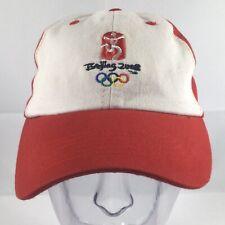 BEIJING CHINA 2008 OLYMPICS Baseball Cap Hat Adult M/L Red White Stretch EUC