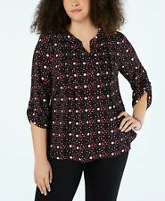 NY Collection Womens Plus Size 1X Black Polka Dot Henley Top Pin Tuck NEW