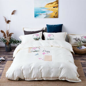 Luxury Egypt Cotton Chinese Style Bedding Set Embroidery Duvet Cover Bed Sheet