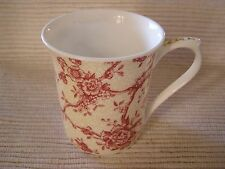 Queen's Toile de Jouy Cranberry Red Tan Birds Dragonfly Coffee Tea Cup Mug NICE