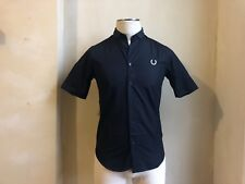 FRED PERRY BY RAF SIMONS SOLID BLACK COLLAR SHIRT DRESS CASUAL S SMALL