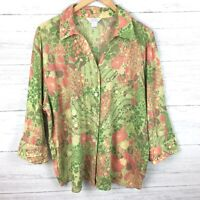 CJ Banks Women's Green and Pink Floral Blouse Button Front Shirt 3/4 Sleeves 2X