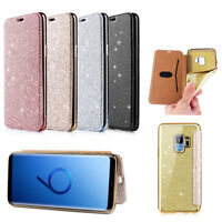 Glitter Hybrid TUP Leather Flip Wallet Stand Holder Phone Case Cover For Samsung