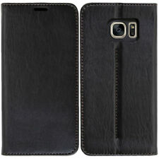 Leder Handy Cover für Samsung Galaxy S7 Etui Case Tasche Schutz Hülle schwarz