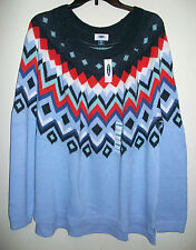 Old Navy Women's XXL/2XL Fair Isle Sweater Blue Red, New W/ Tags