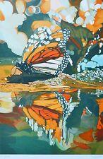 """Fran Bull """"Monarch Butterfly""""1980 Orig. Hand Signed Silkscreen Photorealism Art"""