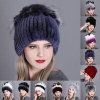Women's Hats Winter Rex Rabbit Fur Hat Head Wrap Knit Cap Beanie Hat Outdoor