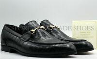Faits à la main en cuir de veau noir imprimé crocodile Casual Slip Ons chaussure