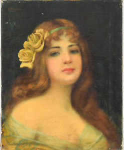Antique Victorian 19th Century Portrait Oil Painting of Lady Woman Girl