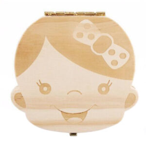 Cute Tooth Box Organizer Kids Baby Save Milk Teeth Storage Wood Box For Boy Girl