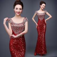 Chic Womens Sequins Formal Evening Bridesmaid Wedding Prom Party Ball Gown Dress