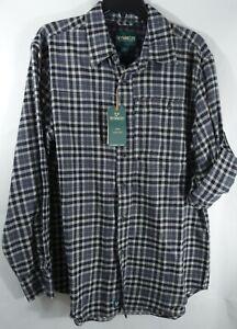 Men Performance Flannel Shirt Medium Wicking Quick Dry Outdoor Life Black Plaid