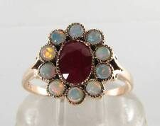LUSH 9CT 9K ROSE GOLD INDIAN RUBY & OPAL ART DECO INS CLUSTER RING FREE RESIZE