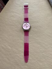 Ladies Pink Swatch Watch, AG2003, Skin Fit, Used - Scratches, Battery Required