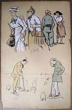 Lithographie, Partie de criquet et Gaby Nets, Sem, 1919
