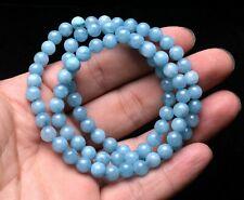 6.5mm Natural Blue Aquamarine Crystal Rough Bracelet Beads Healing