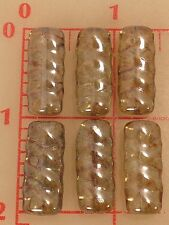 6 Czech glass flat tube beads ribbed spiral texture 25mm x 11mm sage luster