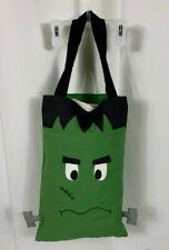 Handmade Halloween Treat Bag Tote Green Black Monster Embroidered Appliqued