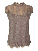 New Ex Dorothy Perkins Ladies Mocha Lace Summer Top Size 6 - 14 Nude Casual