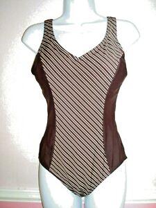 Debenhams Brown & Cream Stripe Padded Cup Control Swimsuit Size 14