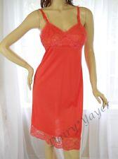 1960's size 34 vintage full DRESS SLIP soft NYLON red LACE
