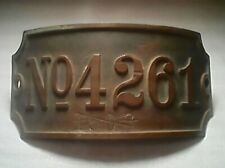 antique brass numbered hardware  6 1/2 by 3