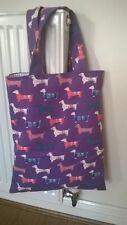 Bolso mano hecha a mano Perro Salchicha Perro Color Púrpura único Forrado Nuevo Mango Corto